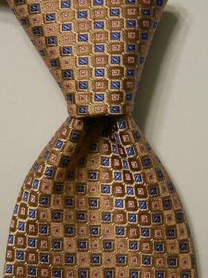 JOS. A. BANK Signature Collection Men's Silk Necktie Geometric Tan/Blue/Pink NWT