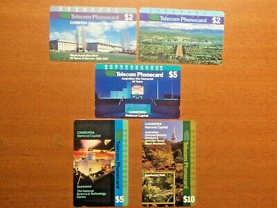 Telecom 1991 used set of 5 ACT Canberra Phonecards one hole To Multi hole