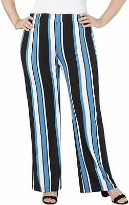 NY Collection Womens Pants Blue Size 1XP Plus Petite Striped Stretch $54 247