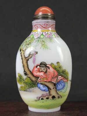 Chinese Person Hand Painted Peking Enamel Glass Snuff Bottle