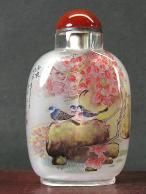 Fine Chinese Flower Bird Inside Hand Painted Man Made Crystal Snuff Bottle