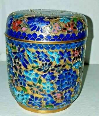 Antique Chinese Cloisonne Gold Enameled Tea Caddy Trinket Box Jar