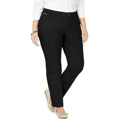 Charter Club Women's Black Size 20W Plus Slim Leg Chino Pants Stretch $69 #371
