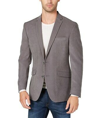 DKNY Mens Suit Gray Size 36 Notch-Collar Two Button Suede Blazer $87 051