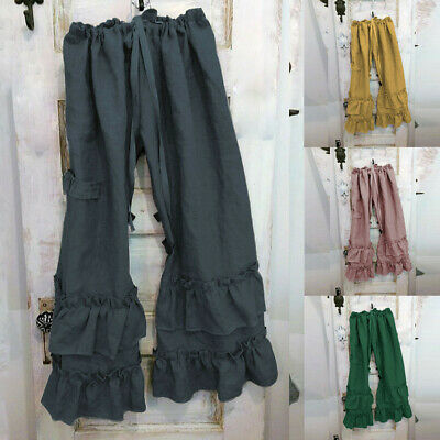 Women Plus Size Trousers Cotton Linen Folds Casual Ruffled Loose Pocket Pants US