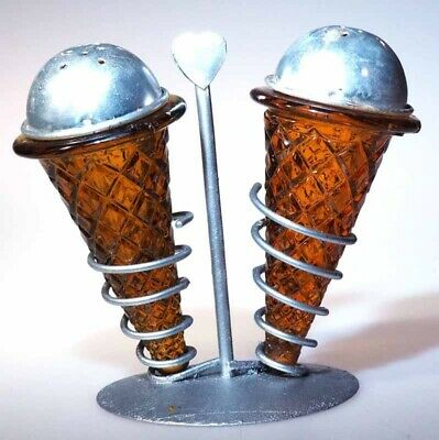 Ice Creram Cones - Salt and Pepper Shakers with Stand - Amber
