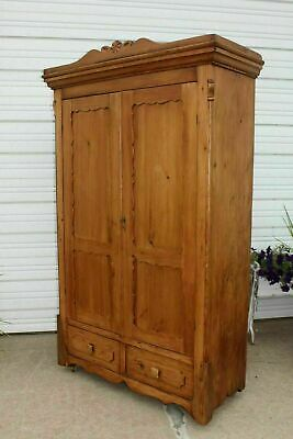 Primitive Pine Square Nail Armoire Wardrobe wHand Carved Swinging Wood Hooks&Key