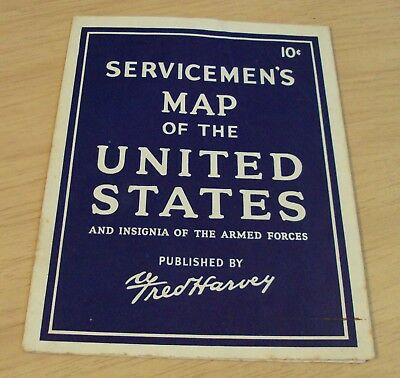 "1940's WWII ""SERVICEMEN'S MAP of the UNITED STATES"" Armed Forces INSIGNIA~"