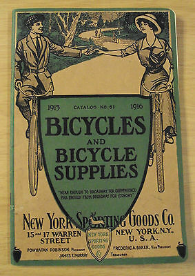 """RARE Antique 1915 CATALOG~""""BICYCLES and BICYCLE SUPPLIES"""" NY Sporting Goods Co~"""