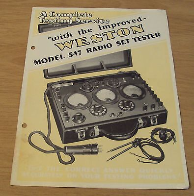 """1929 Advertising Brochure~""""WESTON ELECTRICAL INSTRUMENTS""""~AC/DC Tester~"""