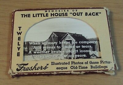 "Circa 1940 OUT-HOUSES Souvenir 12 PHOTO Mailer~""LITTLE HOUSE 'Out back'"""