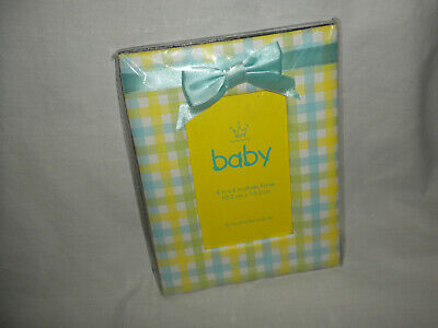 """(7""""x5 ½"""" Holds 4""""x6"""") Pastel Colored PLAID BABY Pic FRAME w/Ribbon Trim NEW!!"""