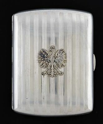 Antique 1920's European .875 Fine Silver Striped Cigarette Case