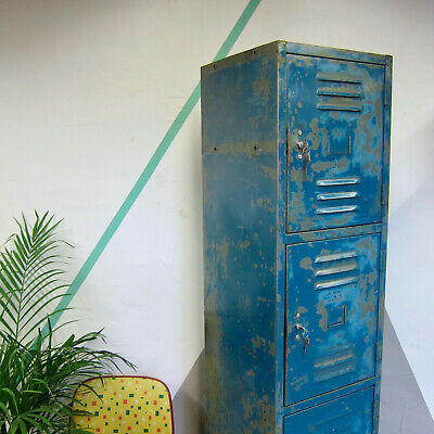 vintage Industrial Metal Locker Multi Door Storage Cupboard 1950s
