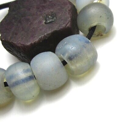 "10 Rare Gorgeous Old Opalescent Venetian ""Baby Moon"" Antique Beads"