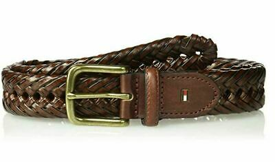 NEW TOMMY HILFIGER BRAIDED BLACK HAND LACED WHIPLACE NICKEL BELT 11TL04X007 001