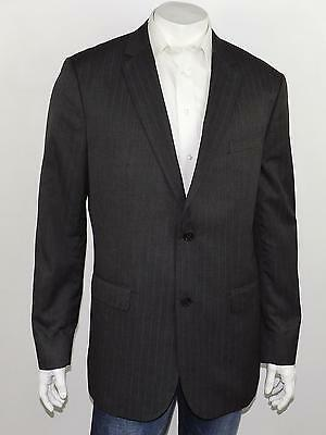 BANANA REPUBLIC Heather Gray Striped All-Season 2-Btn Modern Fit Suit Jacket 46L