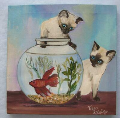 Siamese Cats & Fishbowl Acrylic On Canvas Vera ???