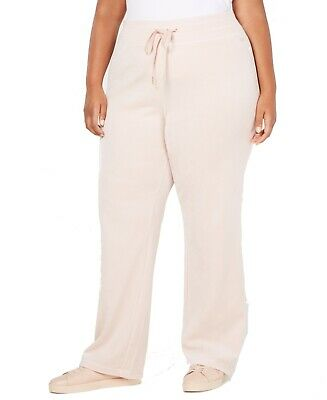 Calvin Klein Women's Pants Pink Size 2X Plus Casual Velours Wide Leg $79 #109