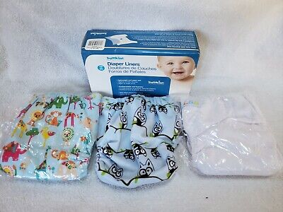 Lot of 3 LBB Reusable Diapers with Animals & 1 Box Bumpkins Diaper Liners 100