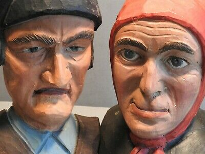 """Pair 2 Vintage Wood Carvings Old Man Woman Head Bust Face 7 & 8"""" Tall BIG LARGE"""