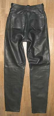 Long Unique Girl ´S Leather Jeans/Trousers in Black Approx. Size 152/158