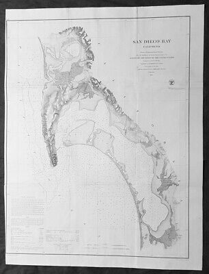1857 US Coast Survey & Bache Large Rare Antique Map of San Diego Bay, California