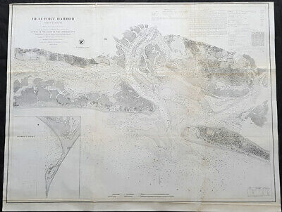 1857 US Coast Survey & Bache Large Antique Map of Beaufort Harbor North Carolina