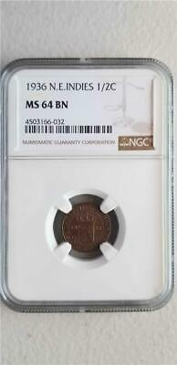 Netherlands East Indies 1/2 Cent 1936 NGC MS 64 BN