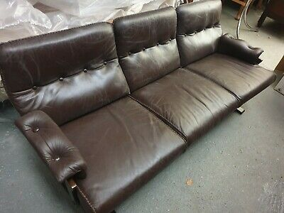 Vintage Mid Century Retro Danish Leather 3 Seater Sofa