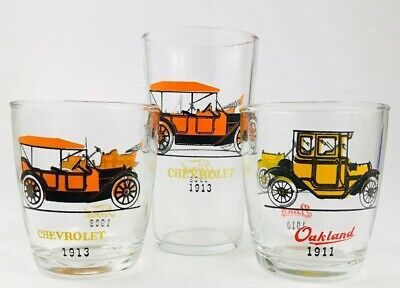 Set of 3 Vintage HUMBLE drinking glasses- Antique Cars - circa 1965