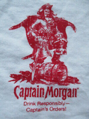 "Vintage CAPTAIN MORGAN ""Drink Responsibly Captain's Orders!"" (XL) Baseball Shirt"