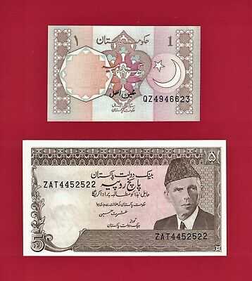 Pakistan UNC Banknotes: 1 Rupia ND (1981-2001) (P-27n) & 5 Rupees 1984 (P-38a.7)