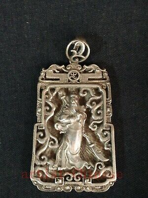 Collection China Tibet Silver Carving Guan Yu Statue Pendant Necklace Decoration