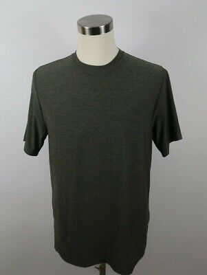 Reebok Mens Stretch Polyester Play Dry SS Crew Neck Heather Army Green T Shirt M