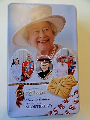 Walkers Shortbread TIN w/Royal Family, QEII, Charles, William & Kate, Harry