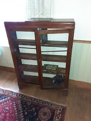 Vintage Art Deco Oak Glazed Closed Bookcase