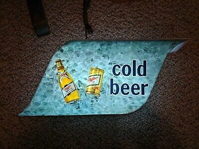 Vintage 1970's Miller High Life Cold Beer Illuminated Large Bar Pub Wall  Sign