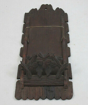 Antique Vintage Rustic Wooden Carved Leaf Walnut Wood Wall Letter Bill Holder