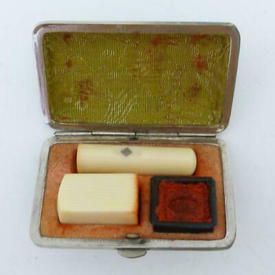 Antiqje Chinese Travelling Seal Set In Leather And White Metal Case
