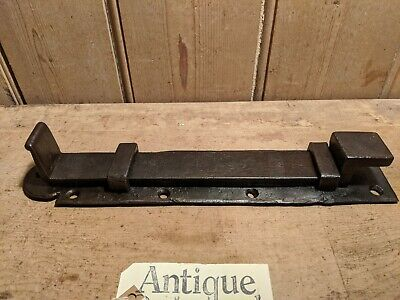 Antique Wrought Iron Sliding Bolt~Lock~Hand Forged~Plank Door~13 Inches~Large~