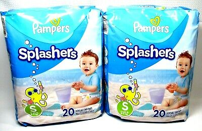 Pampers Splashers Swim Pants 2 Pk Small S Disposable Swimmer Diapers 20 Per Pack
