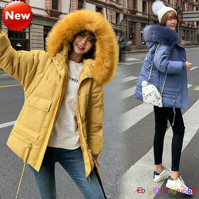 2019 Womens Girls Quilted Winter Coat Puffer Fur Collar Hooded Jacket Parka