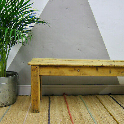 Vintage Pine Bench Seat Dining Table Rustic Farmhouse Old