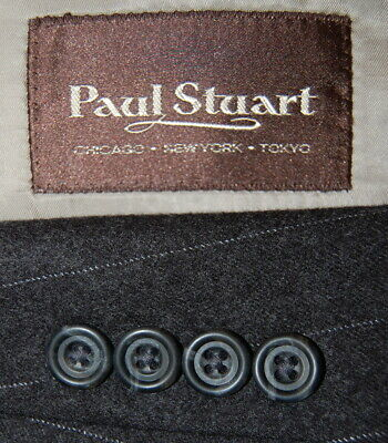42 XL Paul Stuart Charcoal Grey Pinstripe Flannel Weight Wool Suit Pleat Front
