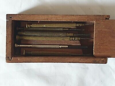 Antique Vintage Wooden Box With 6 Metal Tools