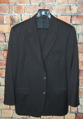Mens 44 R Canali Navy Blue Wool Pinstripe Classic Fit Suit Pleat Front 38x31