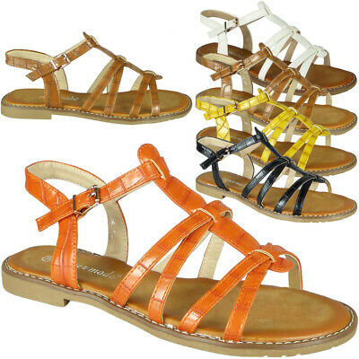 Womens Sandals Open Toe Ladies Summer Flat Strappy Croc Buckle Comfy Shoes Size