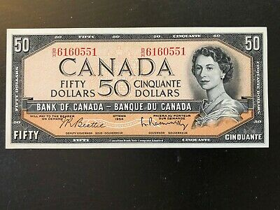 1954 Uncirculated Canada Fifty Dollar Banknote Beattie & Rasminsky B/H Series