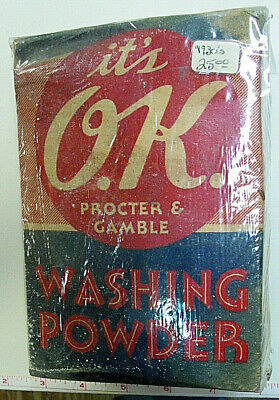 Vintage//Antique WAX PAPER SEALED It/'s O.K Clothes Washing Powder NOS 1 lb P /& G